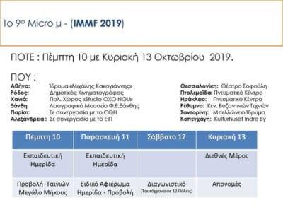 INTERNATIONAL ΜICRO μ FESTIVAL 2019: Από τις 9 ως τις 13 Οκτωβρίου - Ταυτόχρονα σε δώδεκα πόλεις της Ελλάδας και του εξωτερικού 11