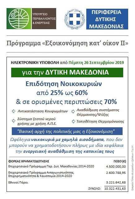 «Εξοικονόμηση κατ' οίκον ΙΙ»: Ανοίγει την Πέμπτη 26 Σεπτεμβρίου η πλατφόρμα για την ηλεκτρονική υποβολή αιτήσεων για τη Δυτική Μακεδονία, με συγχρηματοδότηση από το Επιχειρησιακό Πρόγραμμα Περιφέρειας Δυτικής Μακεδονίας 2014-2020 8