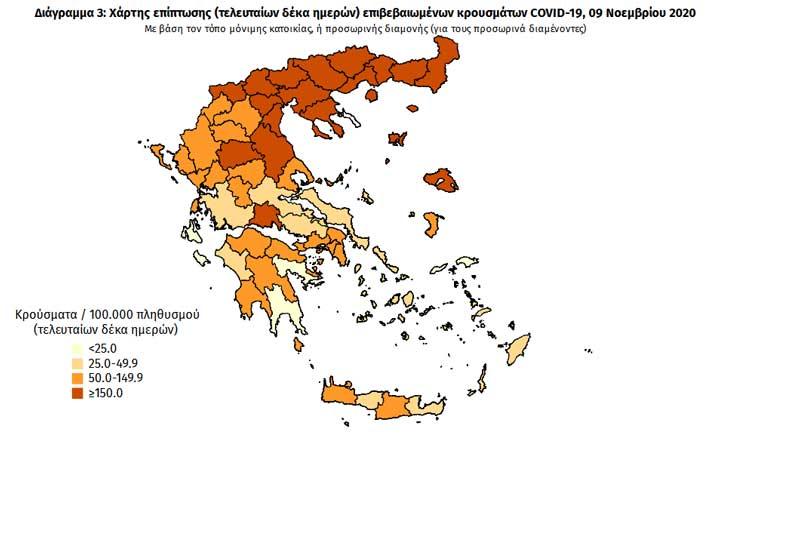 Στο πορτοκαλί η Π.Ε. Κοζάνης σύμφωνα με τον χάρτι του ΕΟΔΥ