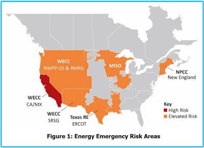 north america energy emergency risk areas summer 2021