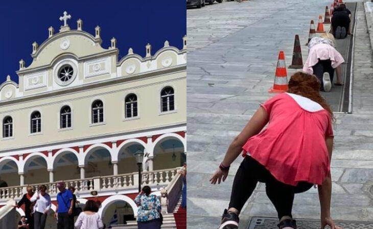 Παναγία Τήνου: Εκατοντάδες πιστοί ξεκίνησαν να ανεβαίνουν γονατιστοί στη Μεγαλόχαρη